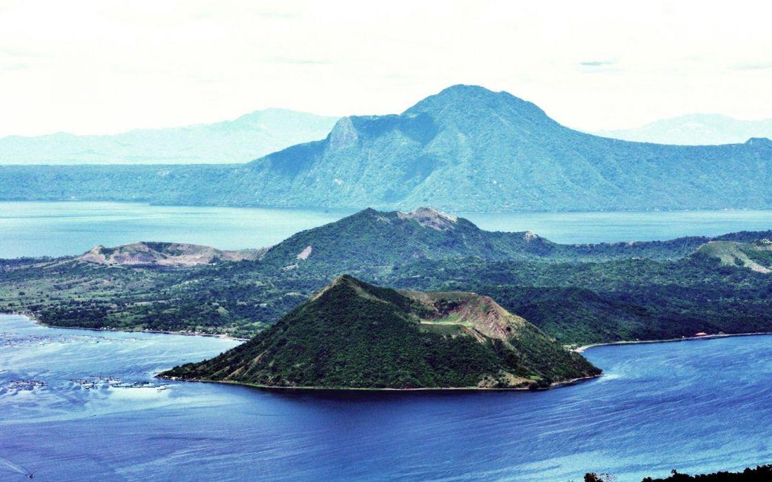 volcano mountain lava nature landscape mountains fire ocean sea island wallpaper