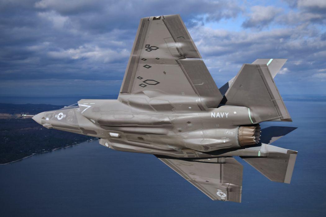 aircraft attack bombing Fighter flights Military ocean Sea sky f-35 lightning ii earth landscapes wallpaper