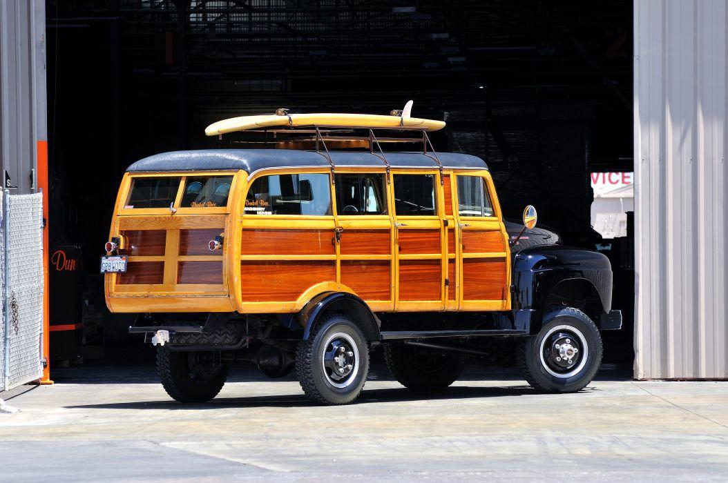 1954 International Harvester R140 Woody Wagon Four Whell Drive 4x4 Classic Old Retro USA 4200x2790-03 wallpaper
