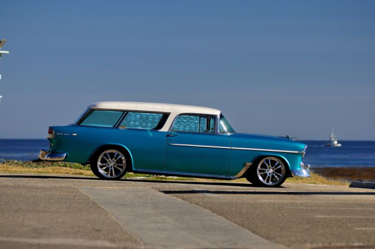 1955 Chevrolet Chevy Nomad Streetrod Street Rod Hot Blue USA-4200x2790-02 wallpaper