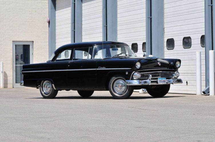 1955 Ford Customline Sedan 2 Door Black Classic Old Vintage USA 4288x2848-01 wallpaper
