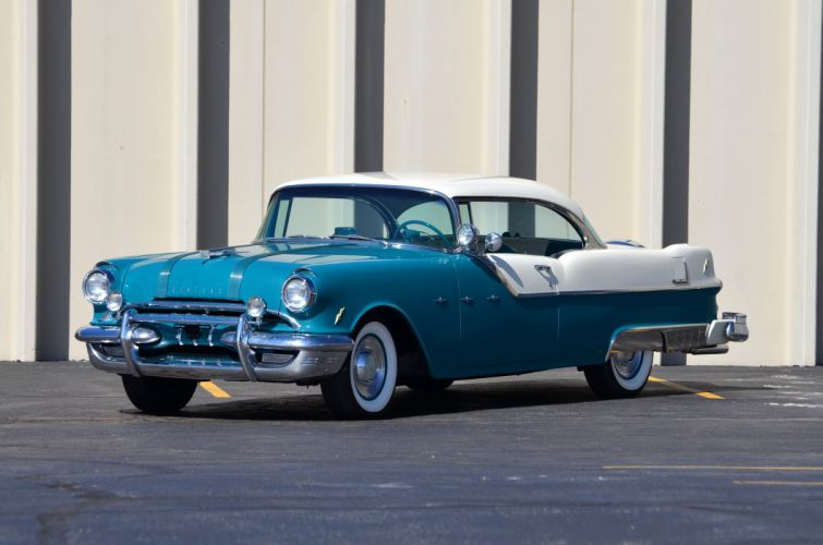 1955 Pontiac Star Cheif Super Eight Coupe Blue Classic OLd Retro USA 4200x2780-01 wallpaper