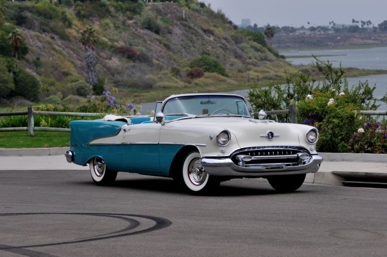 1955 Oldsmobile Rocket 88 Convertible Classic Old Vintage USA 4288x2848-04 wallpaper
