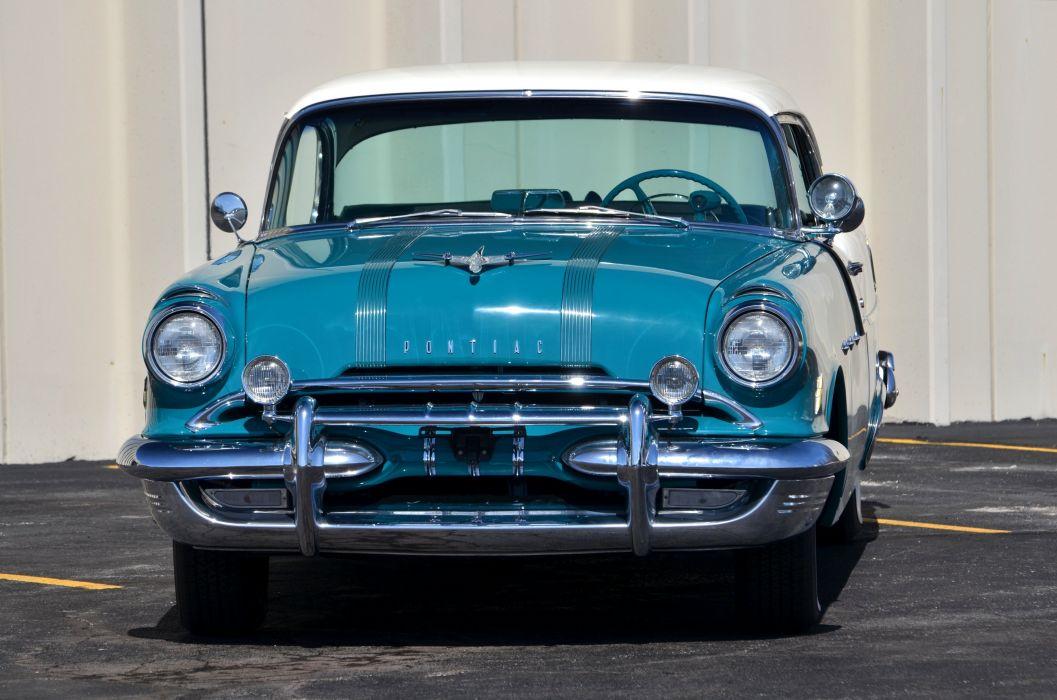 1955 Pontiac Star Cheif Super Eight Coupe Blue Classic OLd Retro USA 4200x2780-04 wallpaper