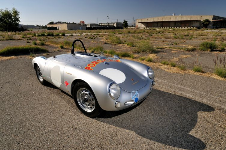 1955 Porsche Spyder Race car Silver Classic Old Retro 4200x2790-01 wallpaper