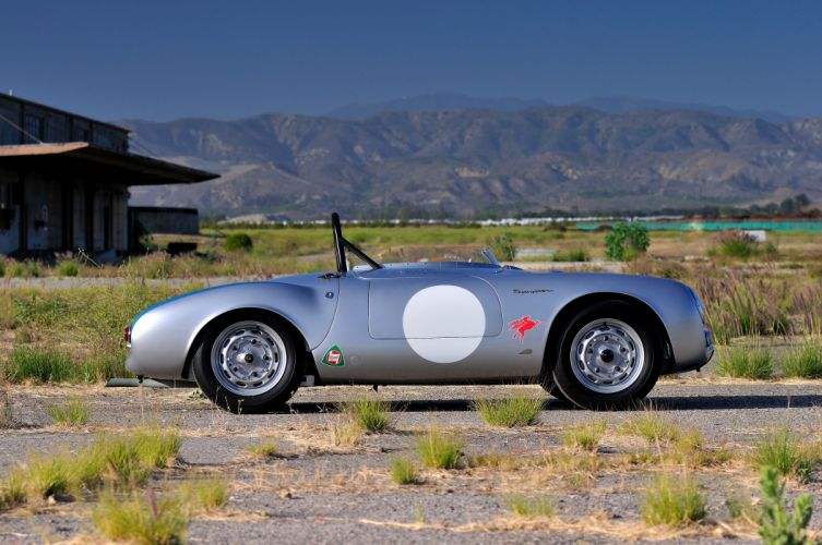 1955 Porsche Spyder Race car Silver Classic Old Retro 4200x2790-06 wallpaper