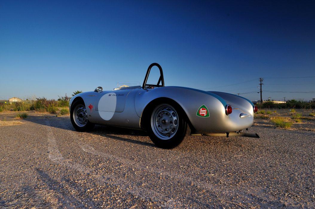 1955 Porsche Spyder Race car Silver Classic Old Retro 4200x2790-09 wallpaper
