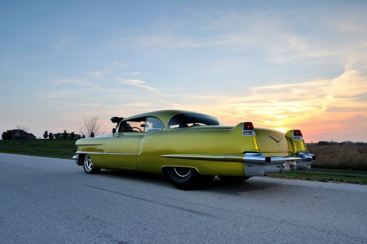 1956 Cadillac Coupe Deville Streetdrag Street Drag Blower yellow USA 4200x2790-05 wallpaper