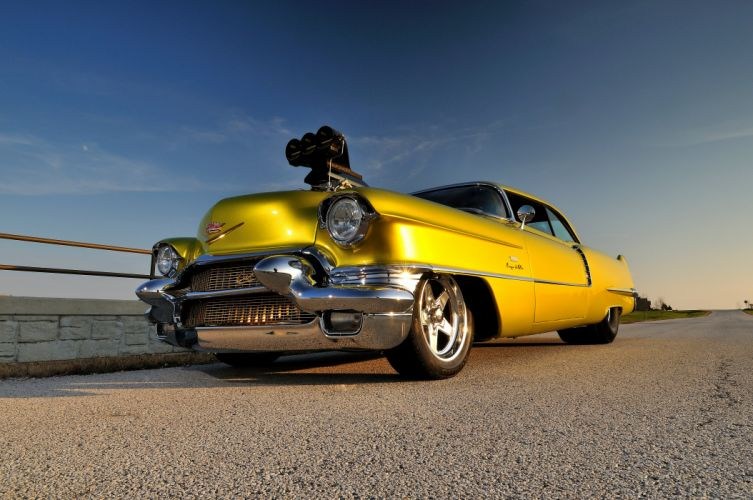 1956 Cadillac Coupe Deville Streetdrag Street Drag Blower yellow USA 4200x2790-04 wallpaper
