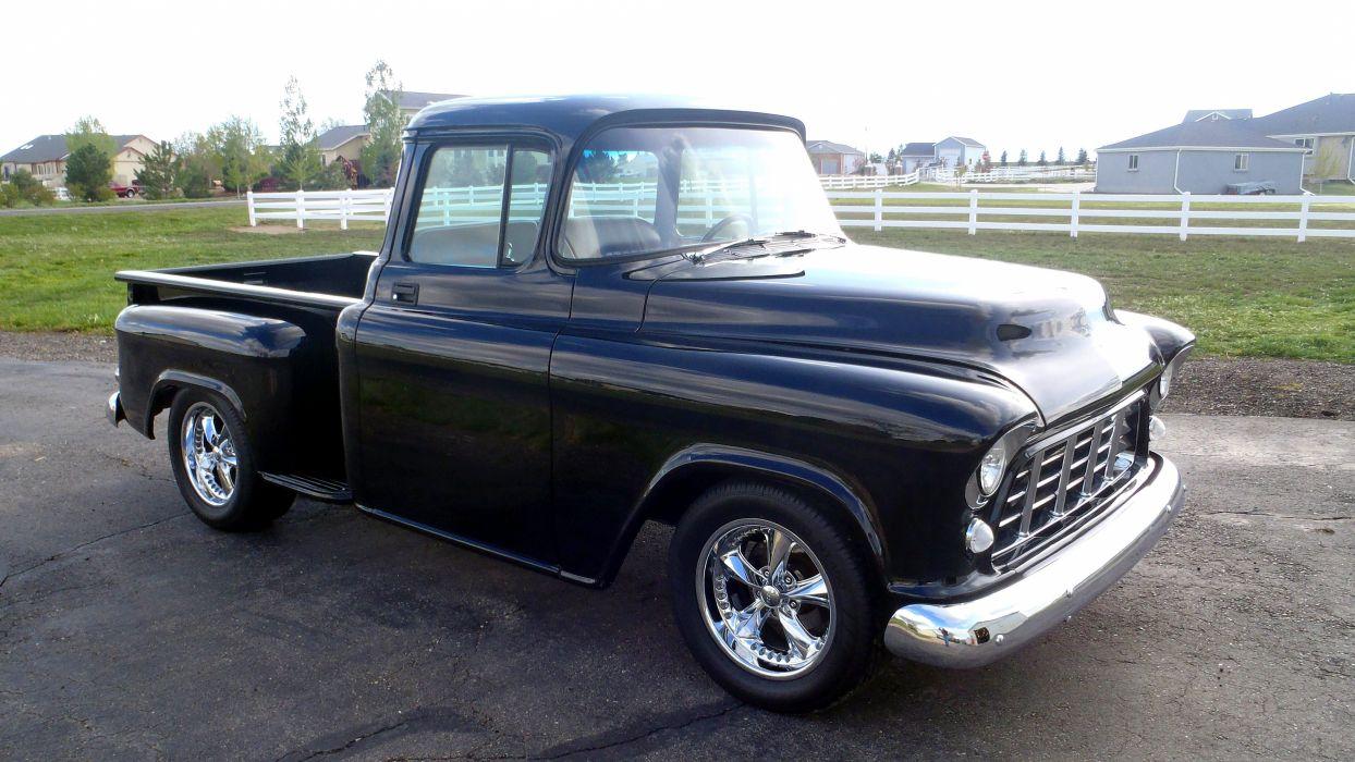 1956 Chevrolet Chevy 3100 Pickup Stepside Black Streetrod Street Rod Hot USA 4200x2360-02 wallpaper