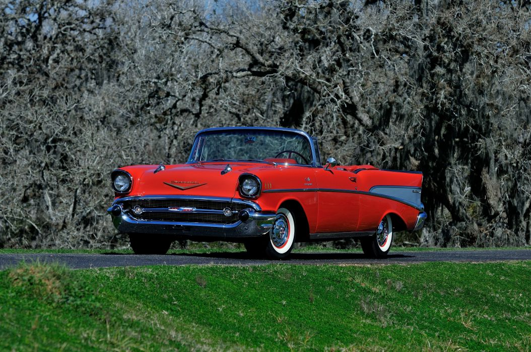 1957 Chevrolet Bel Air Convertible Red Classic Old Vintage USA 4288x2848-01 wallpaper