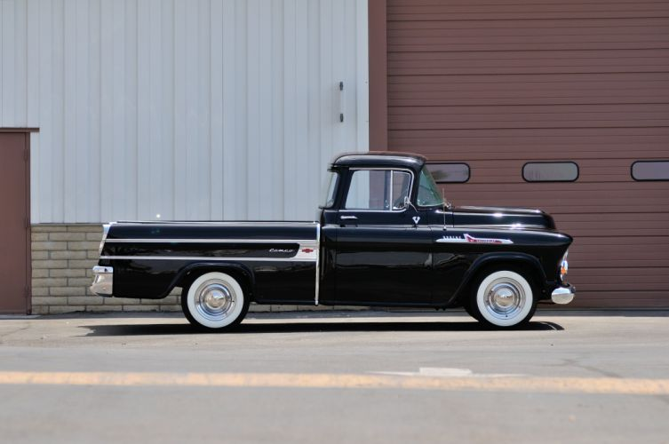 1957 Chevrolet Pickup Cameo Classic Old Black USA 4232x2811-02 wallpaper