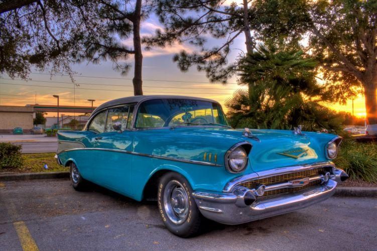 1957 Chevrolet Chevy Streetrod Street Hod Rot Muscle Blue HDRI USA 4500x3000-01 wallpaper