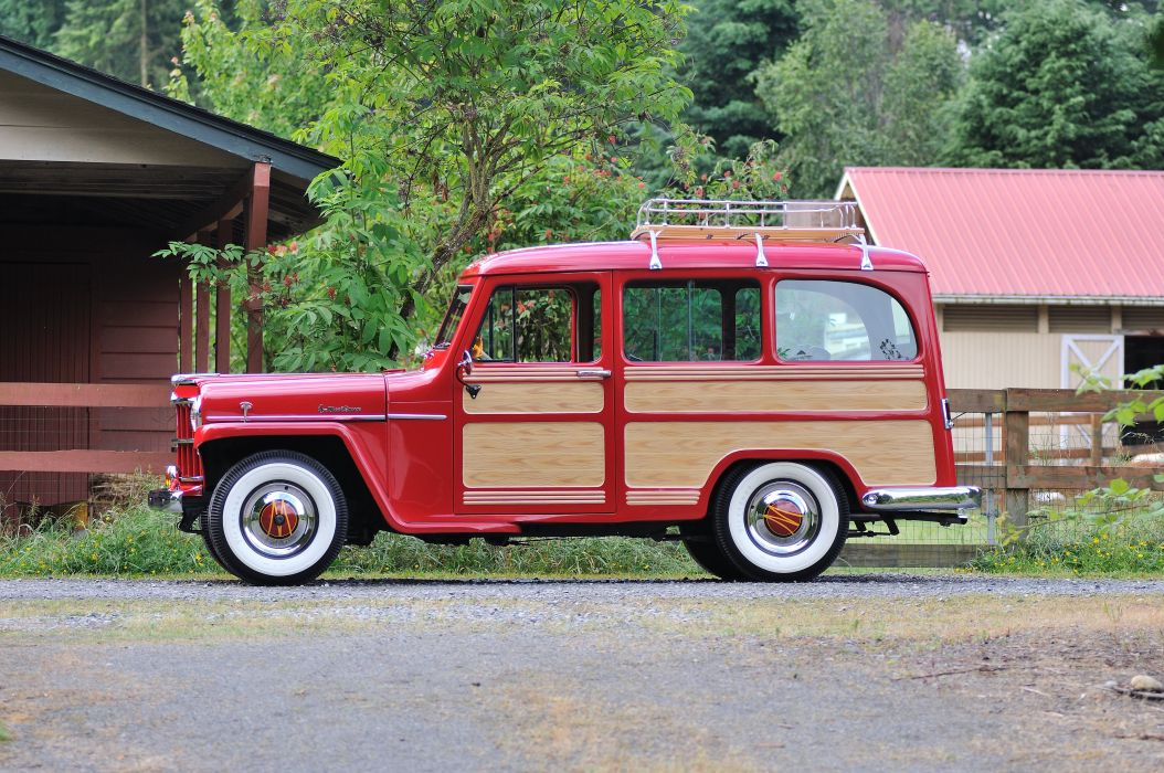 1957 Willys Jeep Wagon Fourwhell Drive Red Classic Old Vintage USA 4288x2848-02 wallpaper