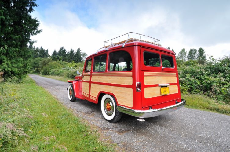 1957 Willys Jeep Wagon Fourwhell Drive Red Classic Old Vintage USA 4288x2848-04 wallpaper