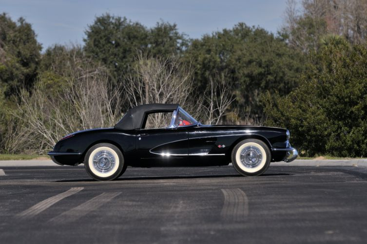 1958 Chevrolet Corvette Black Muscle Classic Old USA 4288x2848-02 wallpaper