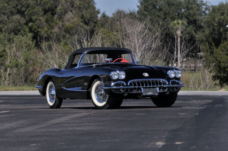 1958 Chevrolet Corvette Black Muscle Classic Old USA 4288x2848-04 wallpaper