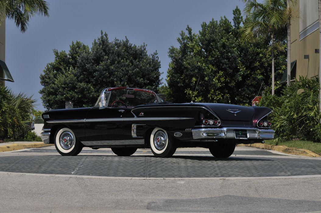 1958 Chevrolet Imapala Convertible Black Classic Old USA 4288x2848-03 wallpaper