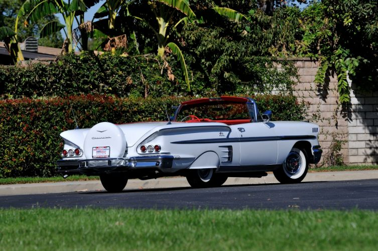 1958 Chevrolet Imapala Convertible White Classic Old USA 4288x2848-03 wallpaper