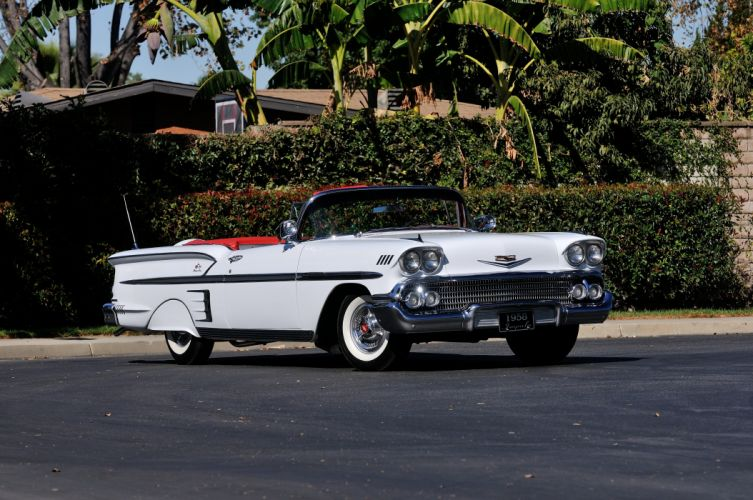 1958 Chevrolet Imapala Convertible White Classic Old USA 4288x2848-05 wallpaper