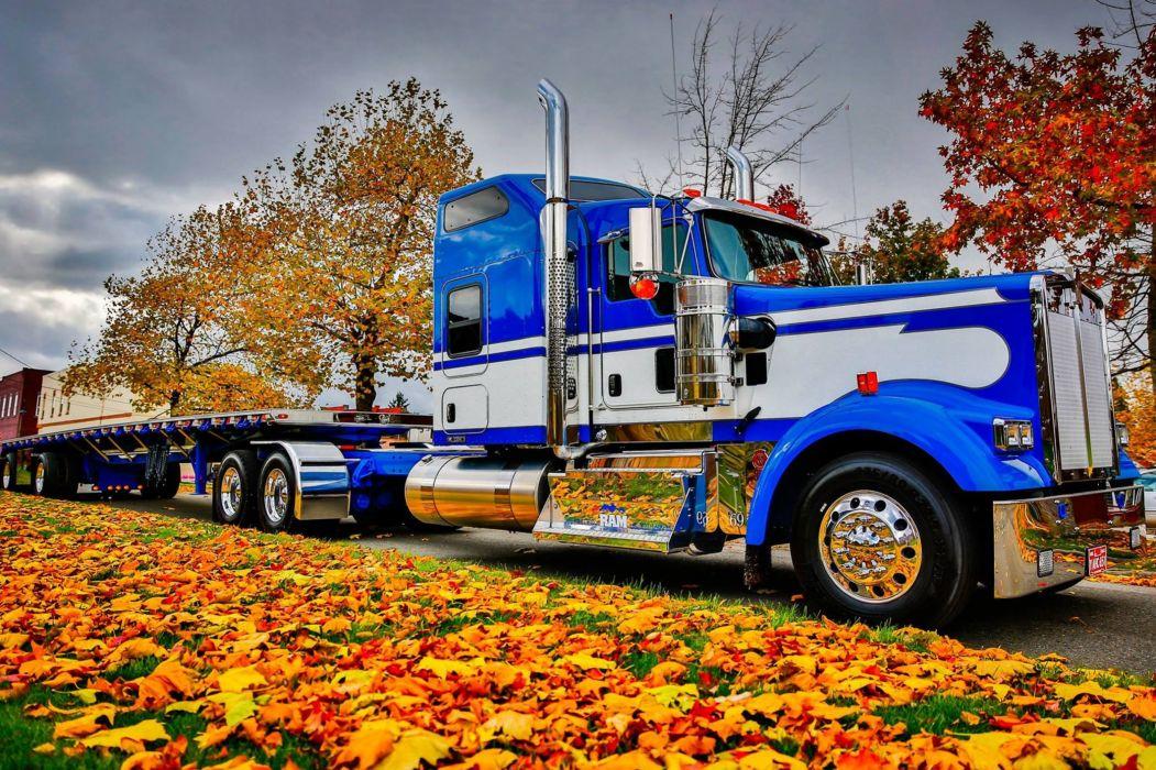 peterbilt gruzovik trucks motors autumn landscapes nature trees road wallpaper