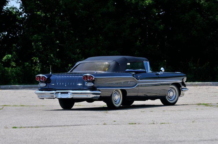 1958 Pontiac Chieftain Convertible Black Classic Old USA 4288x2848-03 wallpaper