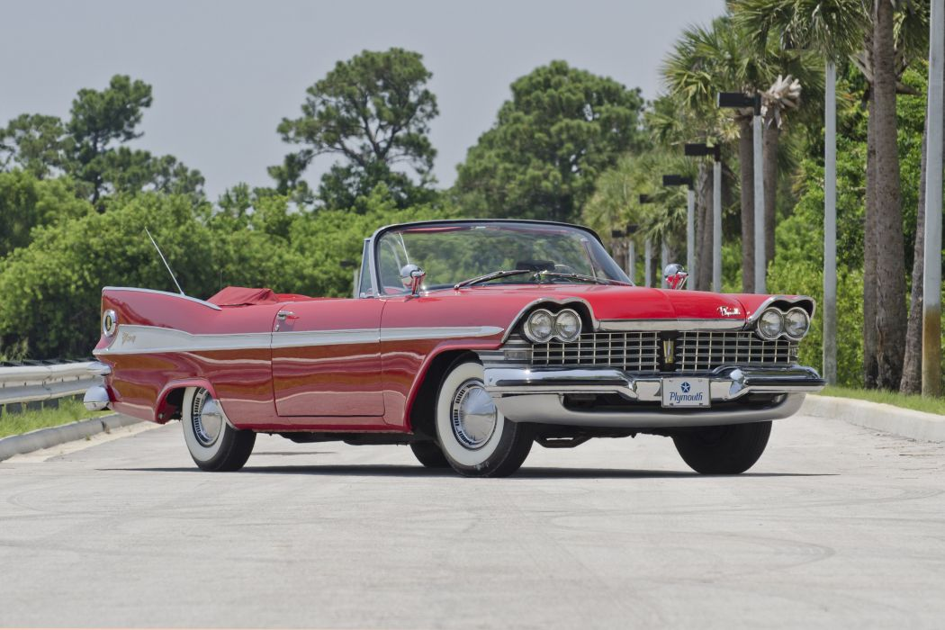 1959 Plymouth Sport Fury Convertible Classic Red USA Retro Old USA 4200x2800-03 wallpaper