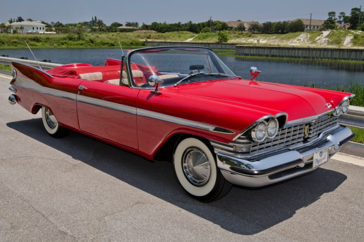1959 Plymouth Sport Fury Convertible Classic Red USA Retro Old USA 4200x2800-01 wallpaper