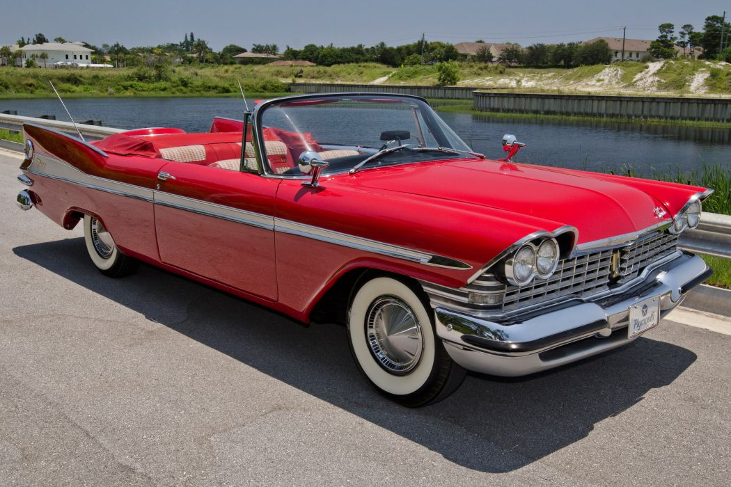 1959 Plymouth Sport Fury Convertible Classic Red USA Retro Old USA ...