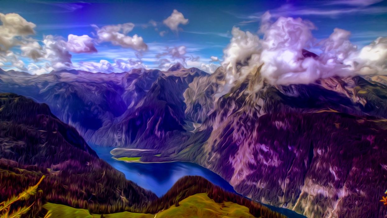 mountains landscape nature mountain psychedelic wallpaper
