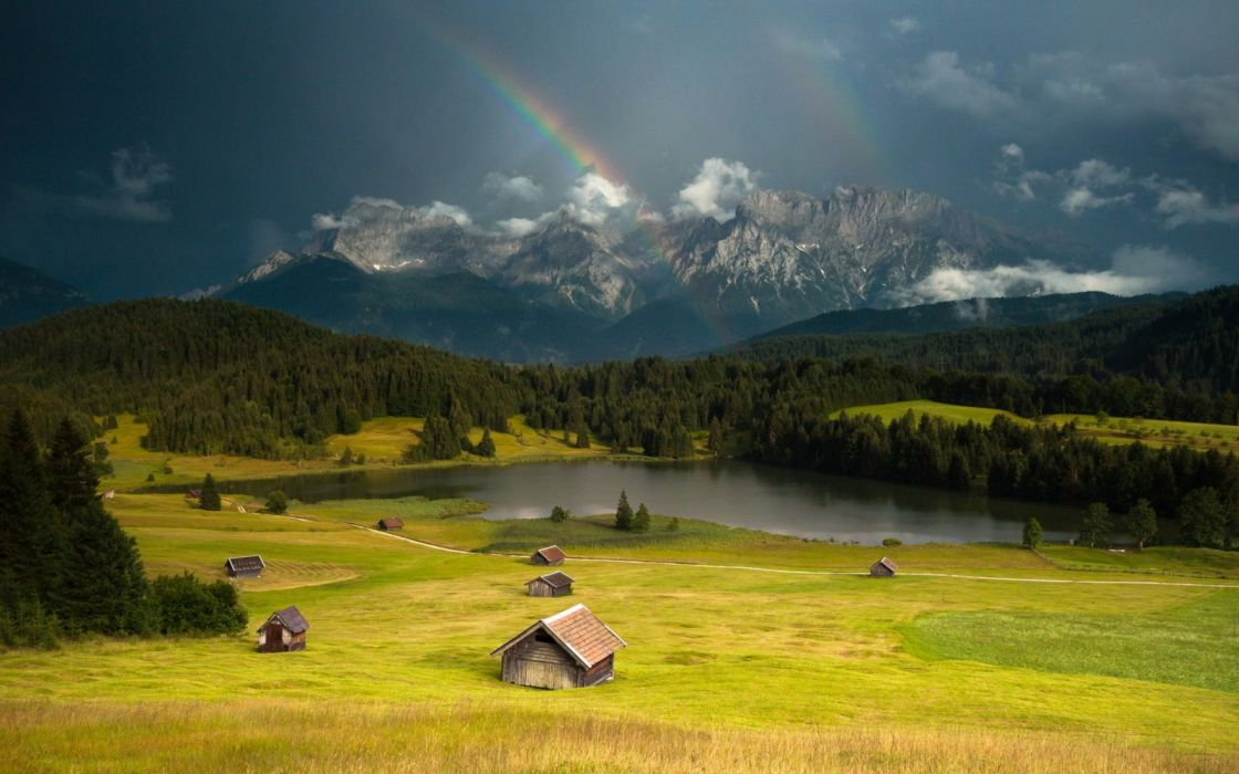 mountains landscape nature mountain rainbow rain rustic farm wallpaper