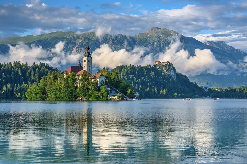 mountains landscape nature mountain lake clouds fog church cathedral castle wallpaper