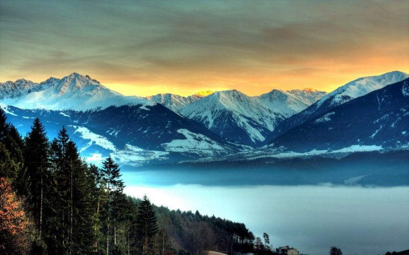 mountains landscape nature mountain lake forest snow wallpaper