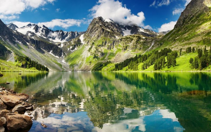 mountains landscape nature mountain lake reflection wallpaper