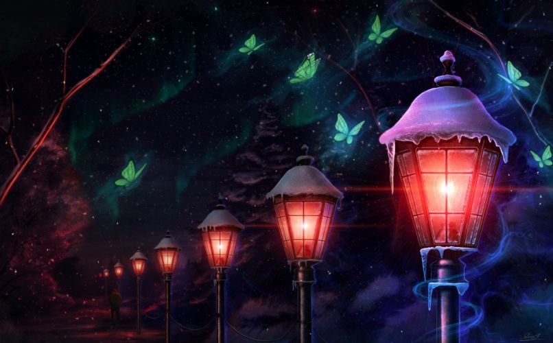 tree butterfly lantern light magic animal anime wallpaper