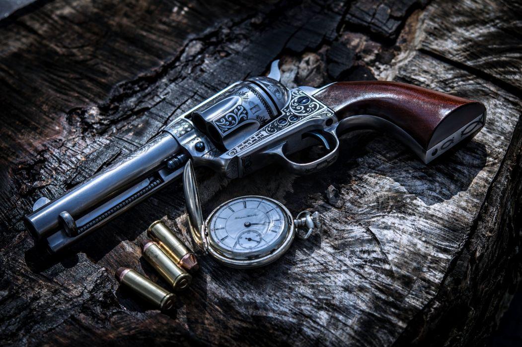 revolver rukoyat stvol Gun weapon ammunition bullets pistol clock wallpaper