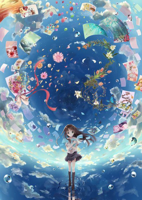 original flower sky clouds anime girl wallpaper