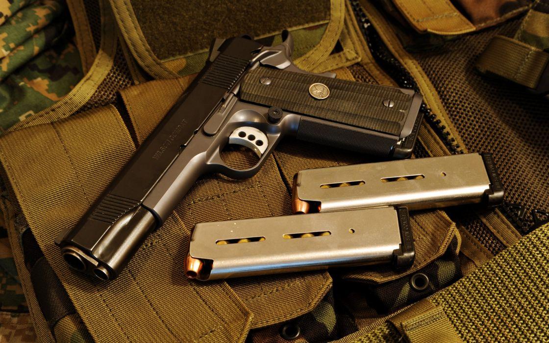 wilson combat 1911a1 Gun weapon ammunition bullets sniper pistol black police wallpaper