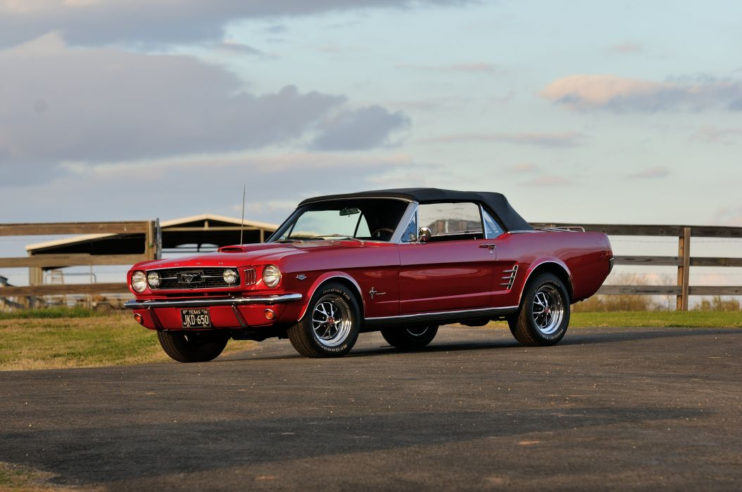 1966 Ford Mustang Convertible Muscle Red Classic Old USA 4288x2848 wallpaper