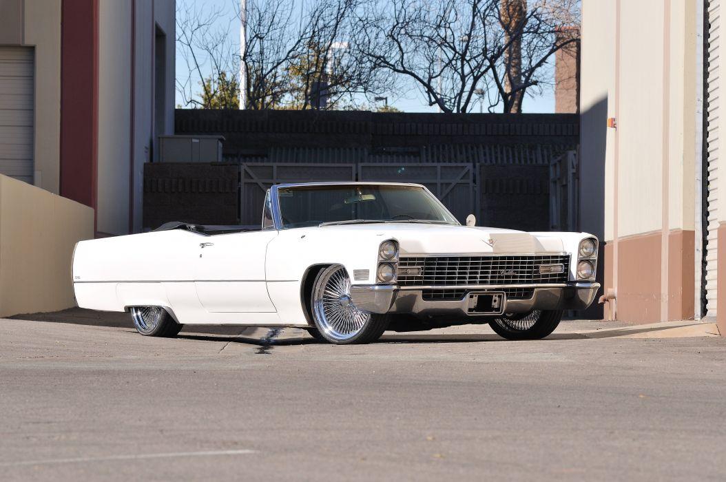 1967 Cadillac Deville Convertible White Streetrod Street Rod Low Lowrider USA 4288x2848-01 wallpaper