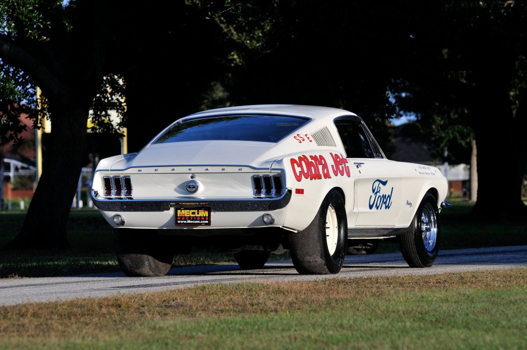 1968 Ford Mustang CJ White Muscle Classic Drag Dragster Race USA 4288x2848-03 wallpaper