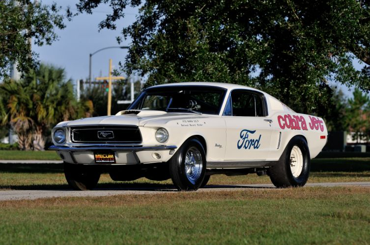 1968 Ford Mustang CJ White Muscle Classic Drag Dragster Race USA 4288x2848-01 wallpaper