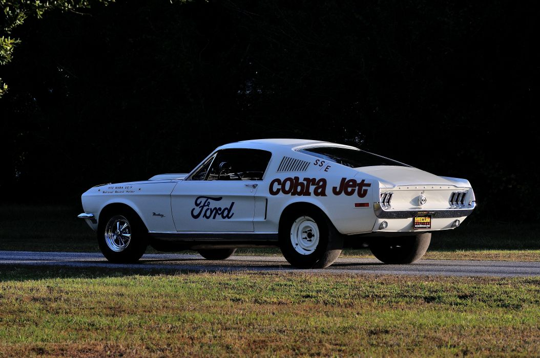 1968 Ford Mustang CJ White Muscle Classic Drag Dragster Race USA 4288x2848-07 wallpaper