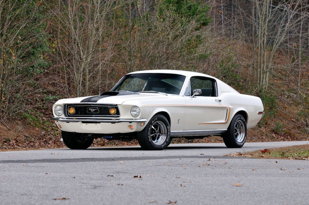 1968 Ford Mustang GT Fastback White Muscle Classic Old USA 4288x2848-01 wallpaper
