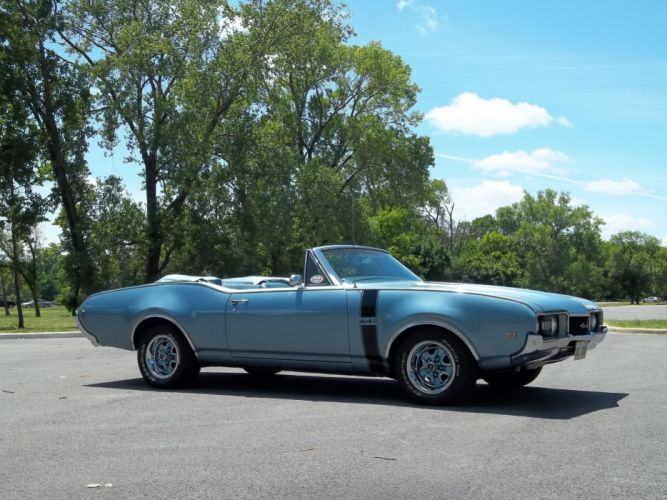 1968 Oldsmobile 442 Convertible Muscle Classic Old Blue USA 4200x3150-03 wallpaper
