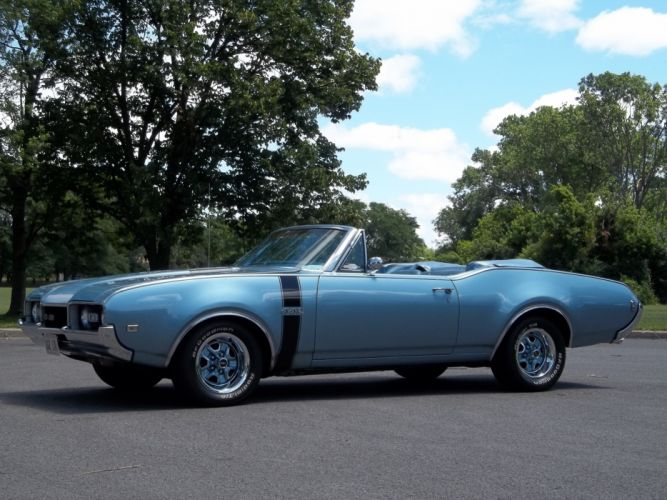1968 Oldsmobile 442 Convertible Muscle Classic Old Blue USA 4200x3150-04 wallpaper
