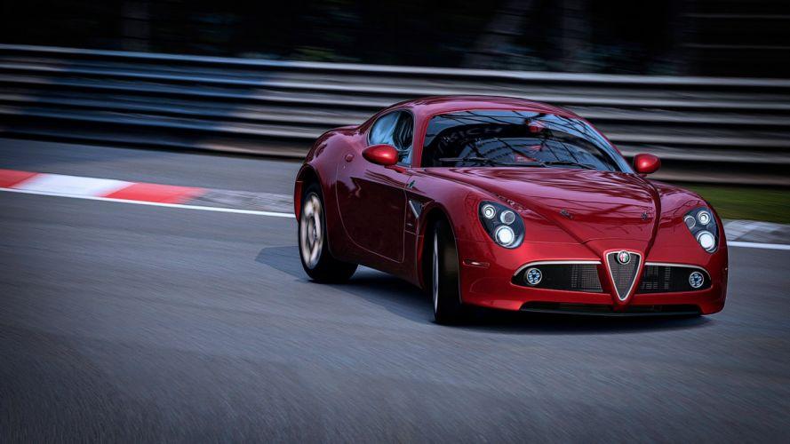 alfa romeo graceful entrance cars red road speed motors wallpaper