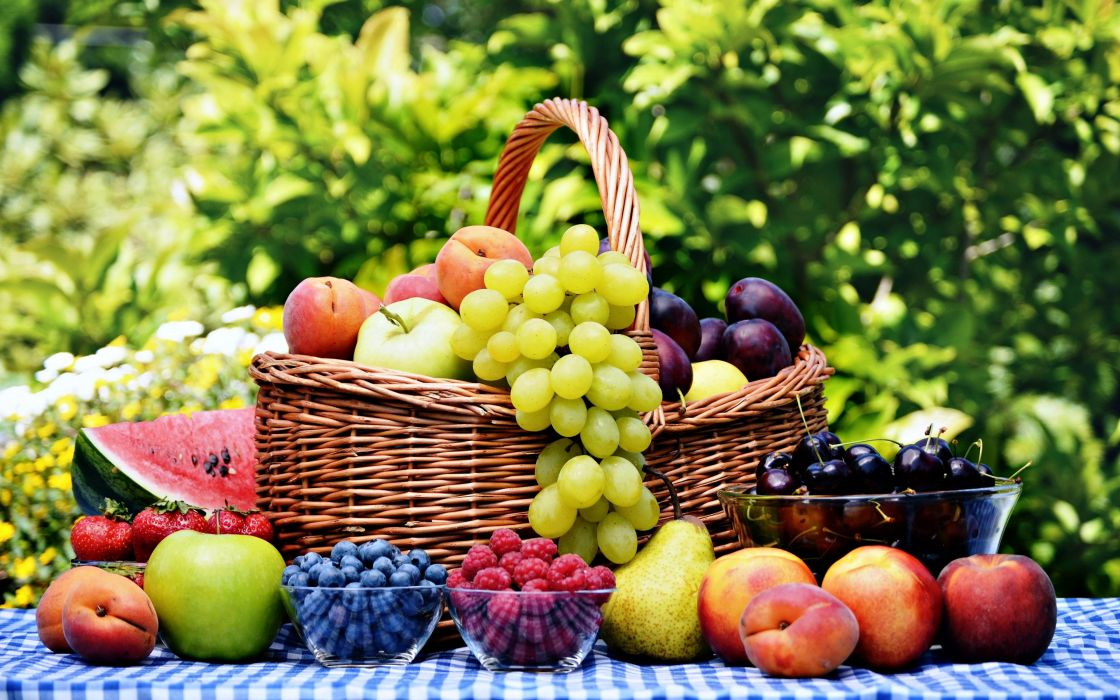 Fruits basket grape strawberry apple watermelon blueberry cherry nature food delicious sweet summer table wallpaper