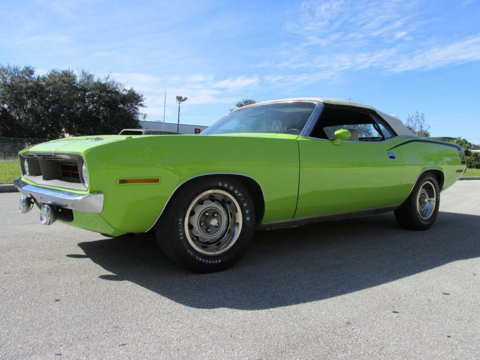 1970 Plymouth Barracuda Convertible Green Muscle Classic USA 4200x3150-01 wallpaper