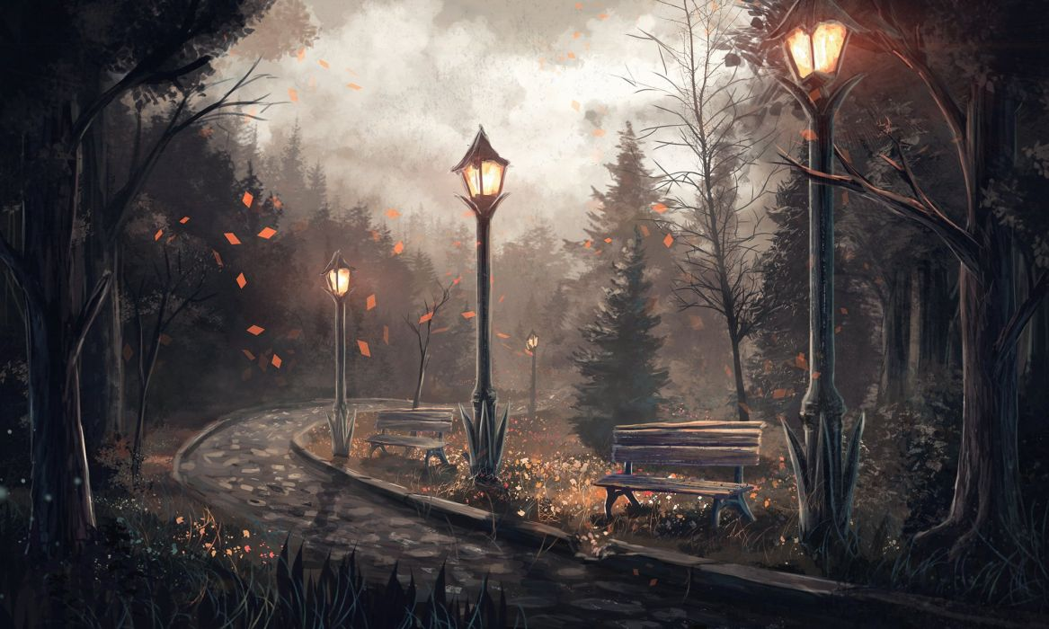 painting anime tree forest landscape leaf lamb night wallpaper